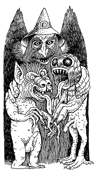 Wizard & Familiars pen and ink 2013